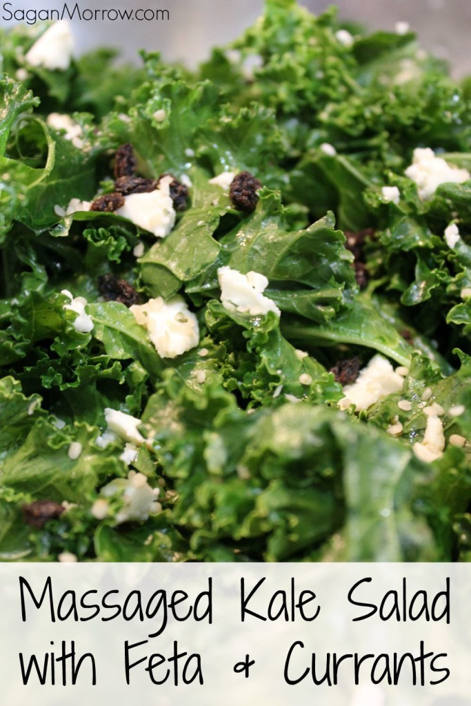 Delicious & healthy kale salad with feta, dried currants, and hemp hearts. Learn how to easily massage kale (it's not as hard as you might think!). Kale recipe ~ salad recipe ~ easy recipe ~ healthy recipe
