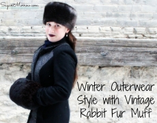 Winter Outerwear Style with Vintage Rabbit Fur Muff