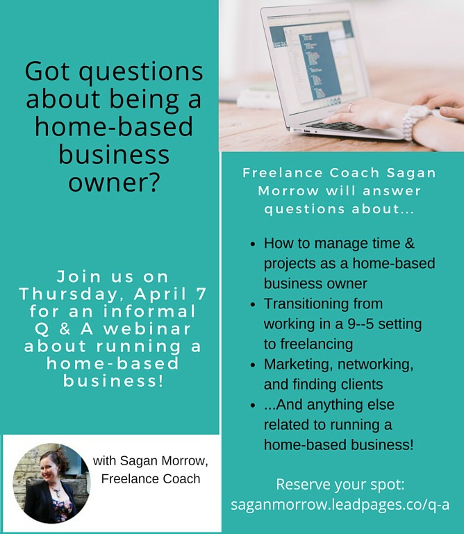 JOIN US at this new free Q & A webinar on tips for starting a home-based business! This webinar is going to be a fun way to connect and get all your burning questions about being a home-based small business owner or freelancer, answered. ::: freelance tips ::: small business tips ::: home-based business tips ::: how to be a freelancer ::: freelancing advice ::: Click on over to sign up for the webinar now!