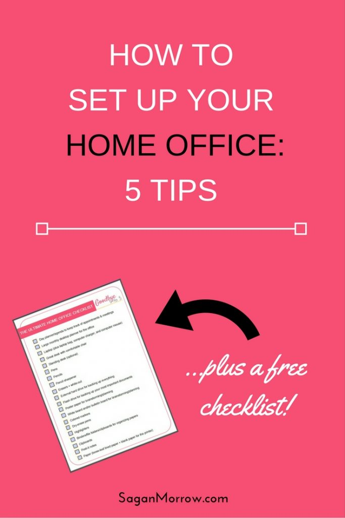 Get a FREE home office checklist + 5 tips for setting up your perfect home office! If you are serious about having a home-based business, you need an awesome home office. These tips + checklist will help create a home office that's perfect for you + your biz! Click on over to get the home office tips + checklist now.