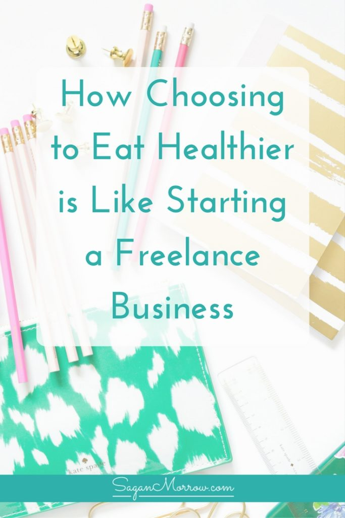 Get tips for starting your own freelance business + find out how choosing to eat healthier is VERY similar to starting a business in this article! Click on over to get 3 strategies for successfully making real change in your life, whether that's eating healthy or starting a freelance business.