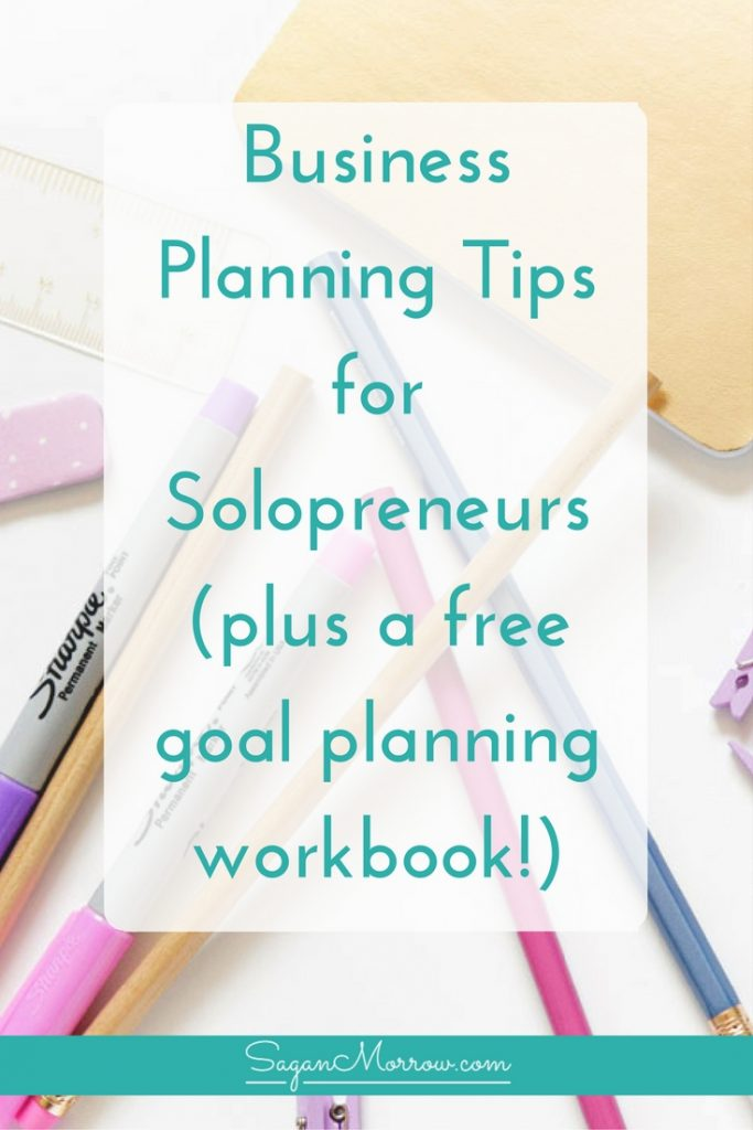 Business planning tips for solopreneurs PLUS get a free goal planning workbook to do big-picture planning for your business! Solopreneur business tips and tips for home-based small business owners -- click on over to get it now