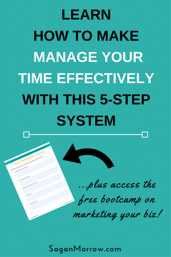 Learn how to manage your time more effective as a business owner in just 5 steps! Time management tips for the busy professional -- effective time management strategies -- how to manage time effectively -- small business tips
