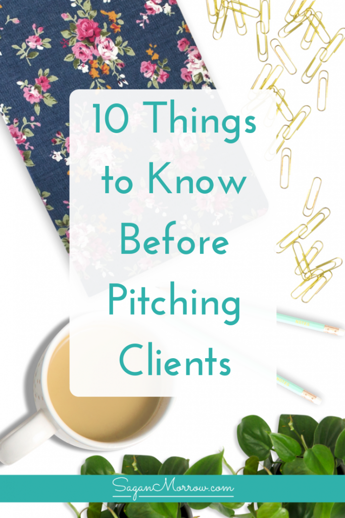 Do you feel well-prepared for pitching clients? Find out the top 10 things you need to know BEFORE you pitch clients so your pitch will be that much more successful! These pitching tips are a must for any freelancer or business owner looking to get more clients. Click on over to get the scoop...